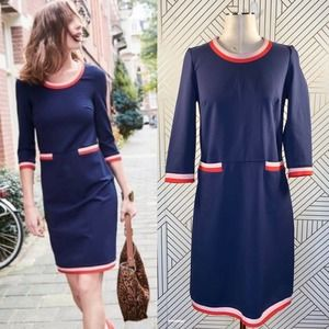 Boden Gloria Ponte Dress in Navy Blue Retro Shift